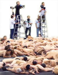 Shed your threads for Spencer. Tunick rearranging body parts for the Montreal shoot
