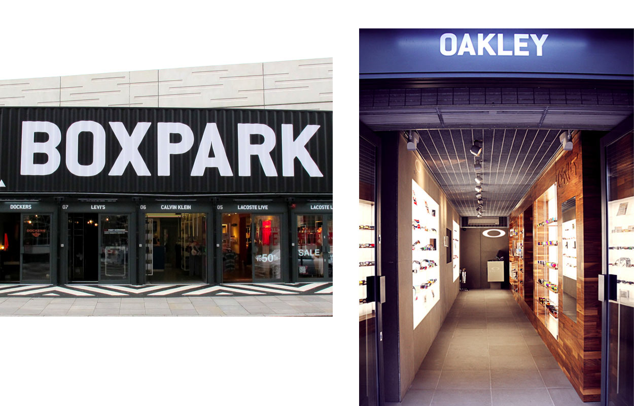 boxpark oakley stores shop top 10 oakley london guide. Black Bedroom Furniture Sets. Home Design Ideas